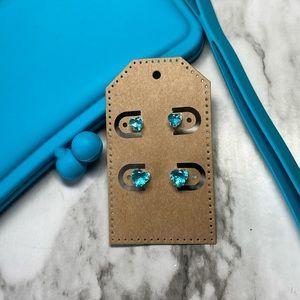 2x Aquamarine Crystal Heart Earrings